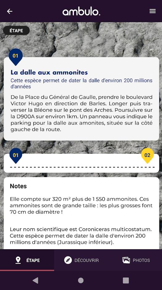 Ambulo - Application IOS - Des points d'intérêts sur le territoire Dignois